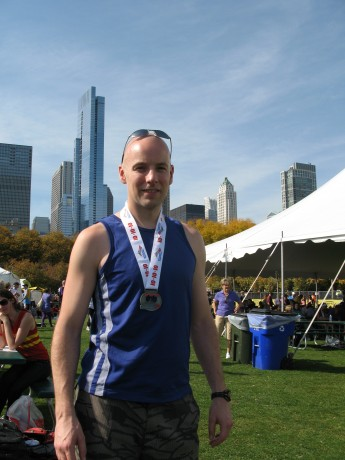 Enjoying the sun in Grant Park after the race